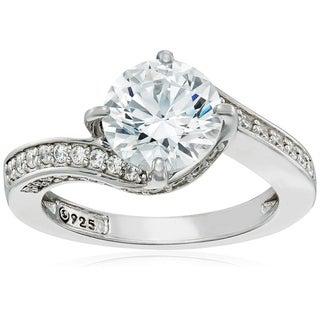 Platinum-Plated Sterling Silver Swarovski Zirconia Round Center Stone Bypass Ring