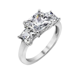 Platinum-Plated Sterling Silver Swarovski Zirconia Princess 3 Stone Ring, Size 9