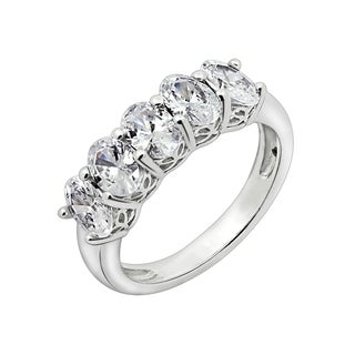 Platinum-Plated Sterling Silver Swarovski Zirconia Oval-Shape 5 Stone Ring (2 cttw)
