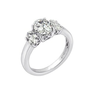 Platinum-Plated Sterling Silver Swarovski Zirconia 3 cttw Oval 3 Stone Ring, Size 9