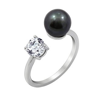 Platinum Clad Cubic Zirconia Freshwater Cultured Pearl Ring (3 options available)