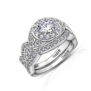 Platinum Clad Swarovski Zirconia Two-Piece Intricate Ring Set (2 options available)