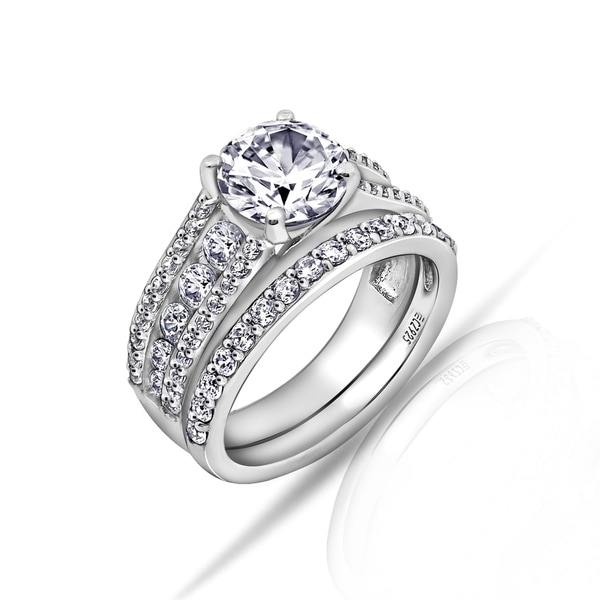 a78e05353 Shop Platinum Clad Swarovski Zirconia Ring Set - Free Shipping Today ...