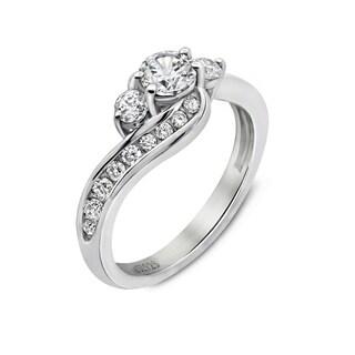 Platinum Clad Swarovski Zirconia 3-Stone Ring
