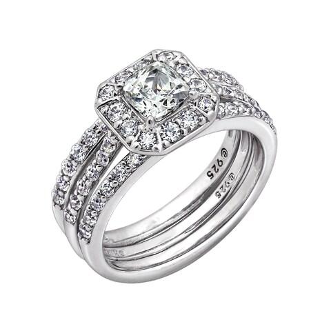 Platinum Clad Swarovski Zirconia Asscher Cut Insert Ring Set