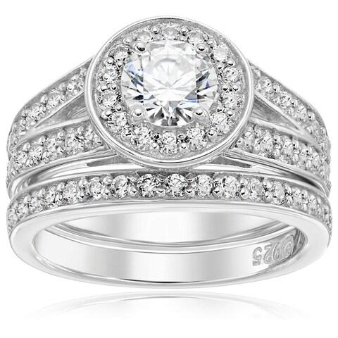 Platinum-Plated Sterling Silver Swarovski Zirconia Halo Ring