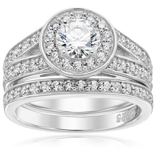 Platinum-Plated Sterling Silver Swarovski Zirconia Halo Ring (3 options available)