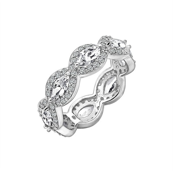 9a7ddadbe5561 Platinum-Plated Sterling Silver Marquise and Round-Shaped ...