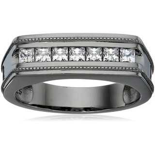 Men's Black Rhodium-Plated Sterling Silver Swarovski Zirconia 7-Stone Princess-Cut Milgrain Band Ring