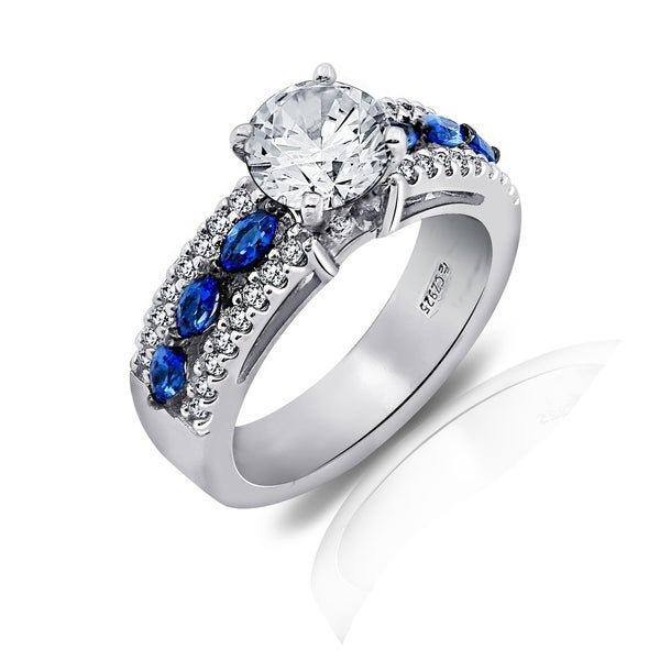 addbe8645ed39 Platinum-Plated Sterling Silver Swarovski Zirconia Round-Cut and Marquise  Created Sapphire Ring, Size 7