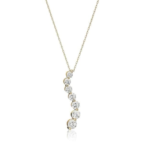 62494913d Shop 10k Gold Gradual Round cut Swarovski Zirconia Pendant Necklace ...