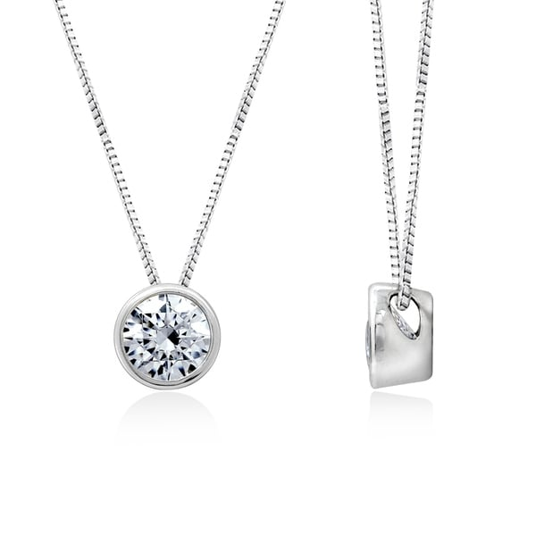 24367a3dc Shop Sterling Silver Cubic Zirconia Round Solitaire Pendant Necklace - Free  Shipping Today - Overstock - 22361919