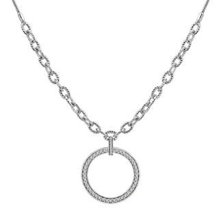 Sterling Silver Cubic Zirconia Adjustable Circle Necklace