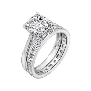 Platinum, 14K Yellow or 14K Rose Gold Clad Cubic Zirconia Cushion Bridal Ring Set (More options available)