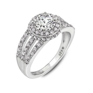 Sterling Silver Cubic Zirconia Round Triple Band Halo Ring