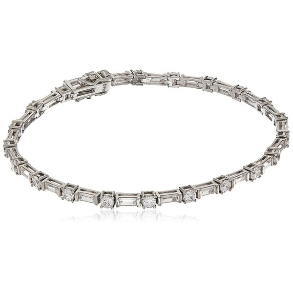 3ebf94e853927 Platinum-Plated Sterling Silver Swarovski Zirconia Round and Baguette  Bracelet