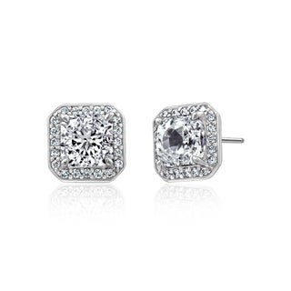 Platinum-Plated Sterling Silver Swarovski Zirconia Halo Square Stud Earrings