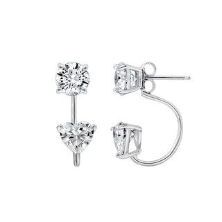 Platinum-Plated Sterling Silver Clear Round and Heart-Shaped Swarovski Zirconia Front-Back Earrings