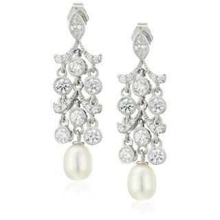 Platinum-Plated Sterling Silver Swarovski Zirconia Freshwater Cultured Pearl Antique Chandelier Stud Earrings