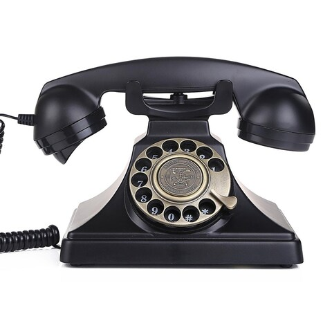 LNC Black Rotary Dial Corded Desk Telephone