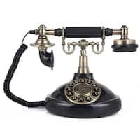 LNC Antique Style Black Push Button Dial Corded Phone