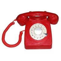 LNC Red Retro Style Rotary Dial Single Line Corded Phone