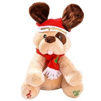 Dimple DC14001 Ginger Holiday Animated Plush Singing Peek-a-boo Christmas Dog - Brown