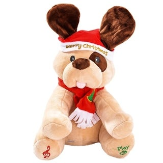 Ginger Holiday Animated Plush Singing Peek-a-boo Christmas Dog by Dimple