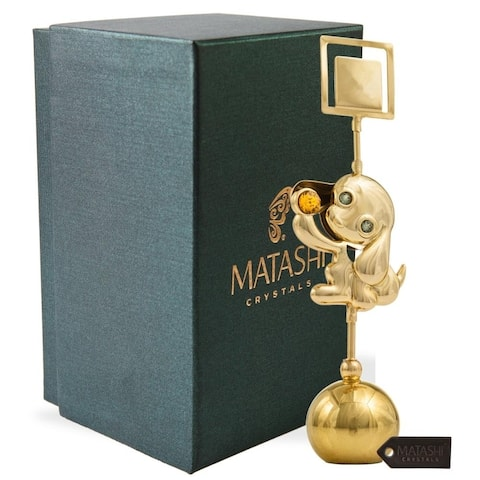 Matashi Metal Dog Figurine Card Holder Home Decor Shelf Desktop with Gift Box, Choose Gold or Chrome plated