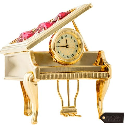 Matashi Vintage Piano Clock Home Decor Shelf Desktop Tabletop with a Luxury Gift Box Choose Gold or Chrome Plated