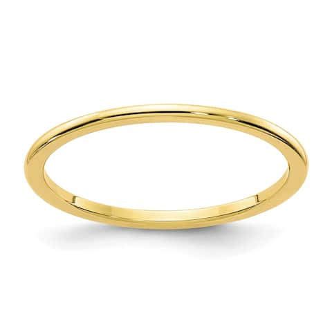 10K Yellow Gold 1.2mm Polished Half Round Stackable Band by Versil