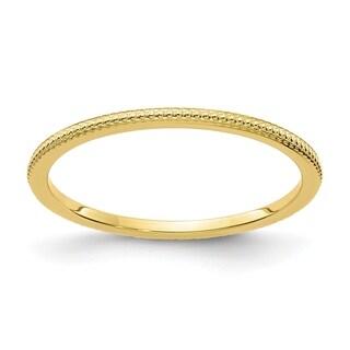 Versil 10 Karat Yellow Gold 1 2mm Bead Stackable Band