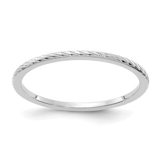 Versil 10 Karat White Gold 1.2mm Twisted Wire Pattern Stackable Band
