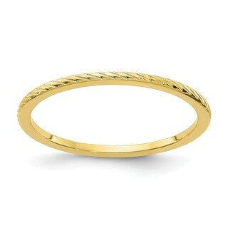 Versil 10 Karat Yellow Gold 1.2mm Twisted Wire Pattern Stackable Band