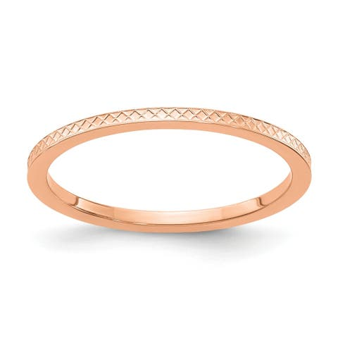 14K Rose Gold 1.2mm Criss-Cross Pattern Stackable Band by Versil