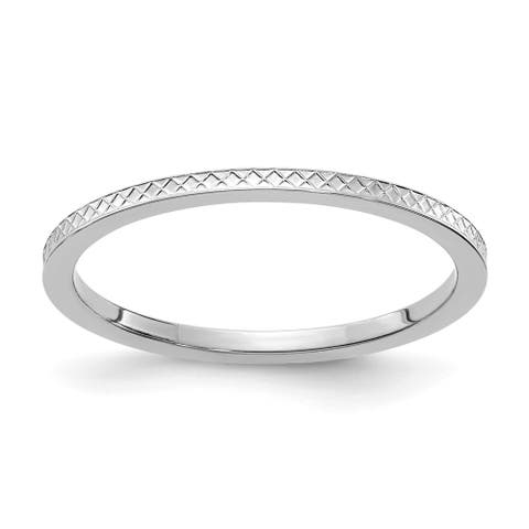 14K White Gold 1.2mm Criss-Cross Pattern Stackable Band by Versil