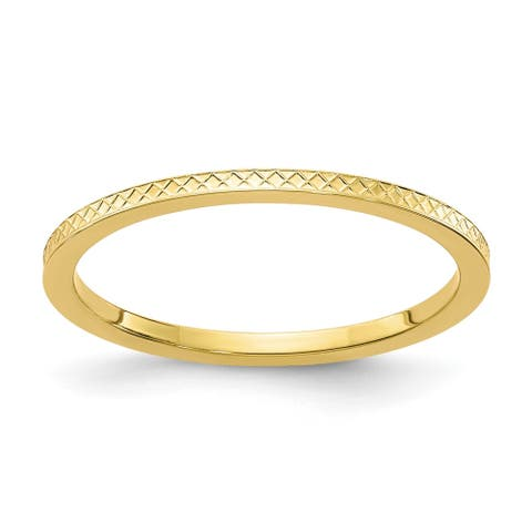 14K Yellow Gold 1.2mm Criss-Cross Pattern Stackable Band by Versil