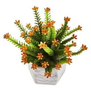 Flowering Sedum Artificial Plant in Marble Vase