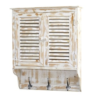 Nearly Natural Whitewash Wood 32-inch Wall Cabinet