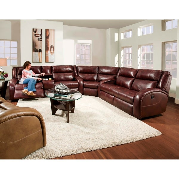 new styles 737f9 507a2 Southern Motion Maverick Burgundy Leather Transitional Reclining Sectional  Sofa