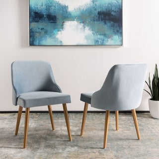 "Safavieh 18.3"" Lulu Upholstered Dining Chair - Slate Blue / Gold (Set of 2) - 21"" x 22"" x 31"""