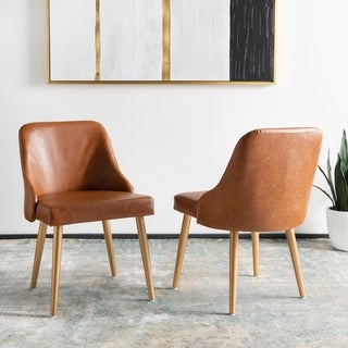 "Safavieh 18.3"" Lulu Upholstered Dining Chair - Light Brown / Gold (Set of 2) - 21"" x 22"" x 31"""