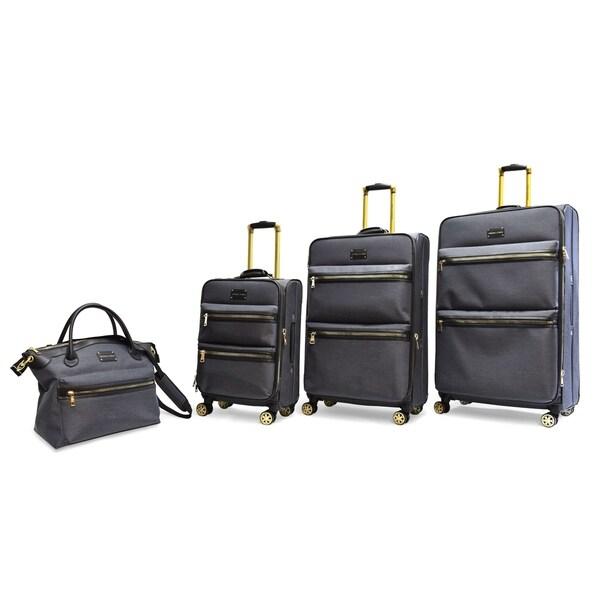 631d7017c Adrienne Vittadini 4-piece Black Two-Tone Nylon Eight-Wheel Spinner Luggage  Set