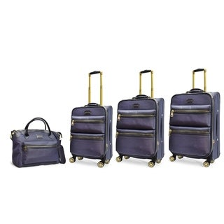 Adrienne Vittadini 4-piece Denim Blue Two-Tone Nylon Eight-Wheel Spinner Luggage Set