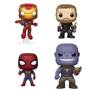 Funko POP! Marvel Avengers Infinity War Collectors Set 1 - Iron Man, Thor, Iron Spider & Thanos