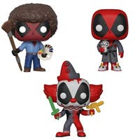 Funko POP! Marvel Deadpool Playtime Collectors Set - Deadpool as Bob Ross, Bedtime Deadpool & Clown Deadpool