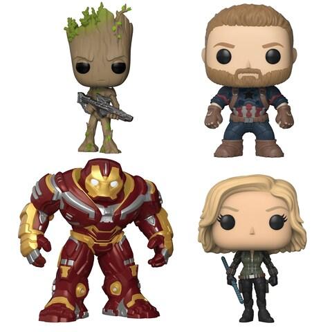"Funko POP! Marvel Avengers Infinity War Collectors Set 2 - Groot w/Blaster, Captain America, Black Widow & 6"" Hulk Buster"