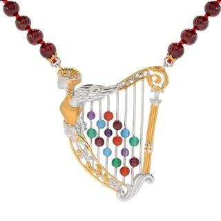 Michael Valitutti Palladium Silver Garnet & Multi Gemstone Beaded Harp Necklace