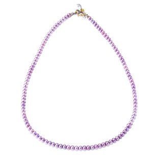 Michael Valitutti Palladium Silver Dyed Freshwater Violet Pearl Toggle Necklace