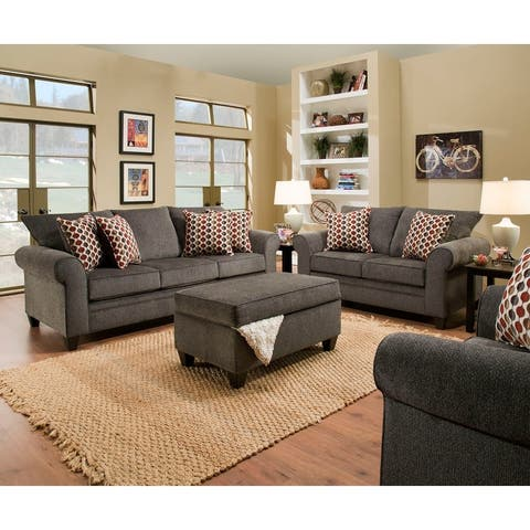 Simmons Upholstery Albany Pewter Sofa and Loveseat Set